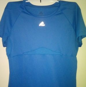 ADIDAS WOMENS BLUE DRI FIT SHIRT/TOP SZ L/XL